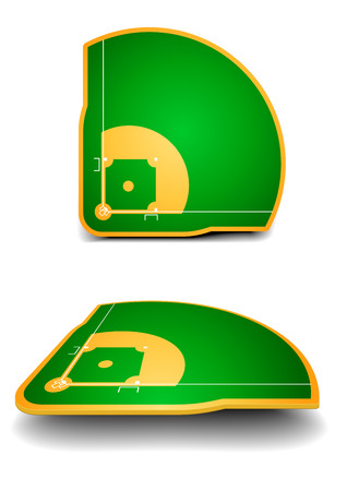 dugout: detailed illustration of baseball fields with perspective, eps10 vector Illustration