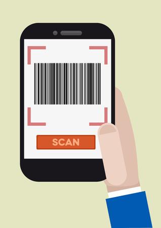 barcode scan: ilustraci�n minimalista de la mano que sostiene un smartphone con una aplicaci�n de escaneo de c�digo de barras que ejecuta Vectores