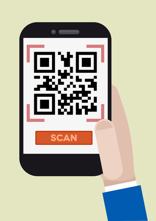 qrcode: minimalistic illustration of hand holding a smartphone with a running QR-Code scan application  Illustration