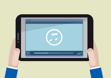 digital music: minimalistic illustration of a tablet computer with running musicplayer application