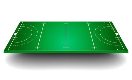 hockey cesped: ilustración detallada de un campo de hockey con perspectiva