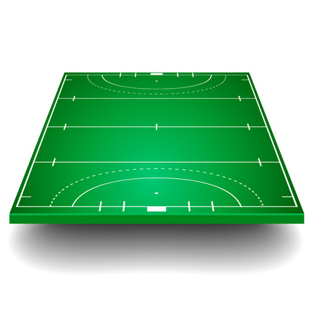gedetailleerde illustratie van een hockeyveld met perspectief