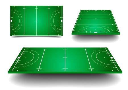 gedetailleerde illustratie van Hockey velden met ander perspectief Vector Illustratie