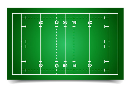 rugby ball: detailed illustration of a rugby field