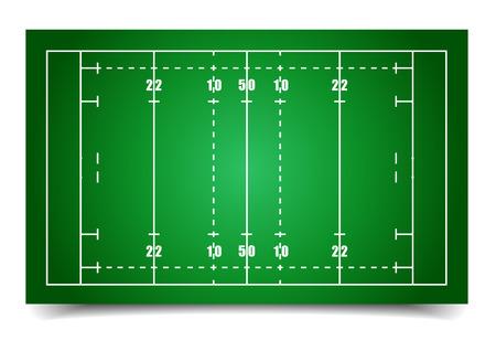 pelota de rugby: ilustración detallada de un campo de rugby