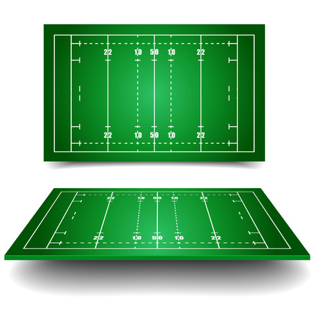 football tackle: detailed illustration of rugby fields with perspective,