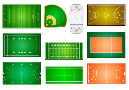 field hockey: detailed illustration of different sport fields and courts