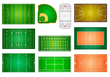 pelota rugby: ilustración detallada de los diferentes campos deportivos y los tribunales