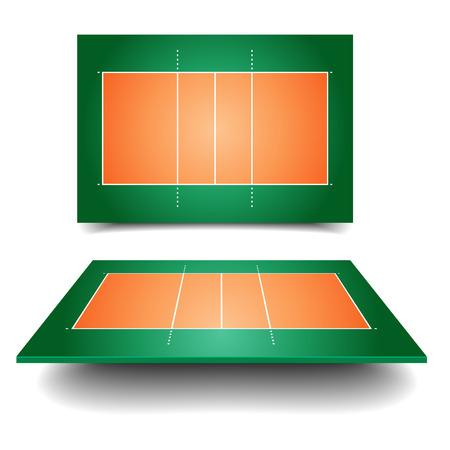pelota de voleibol: ilustraci�n detallada de una cancha de voleibol con la perspectiva