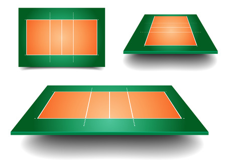 volley ball: detailed illustration of volleyball courts with perspective