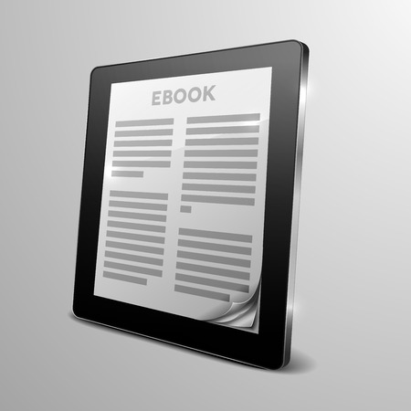 a tablet computer with running ebook application and a curled corner Vector