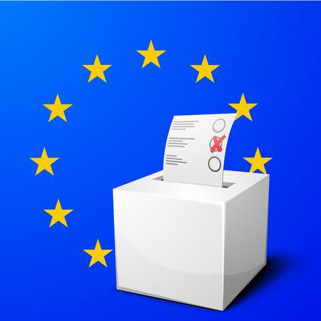 ballot box: a ballot box on the European Flag background
