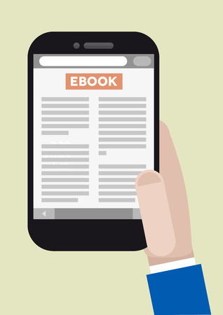 minimalistic illustration of a smartphone with running ebook application Vector