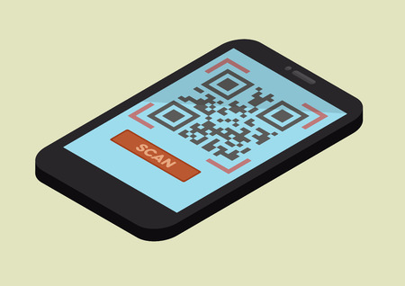 qrcode: minimalistic illustration of  a smartphone in isometric view with a running QR-Code scan application