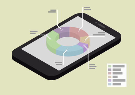 illustration of a smartphone in isometric view with pie chart Vector