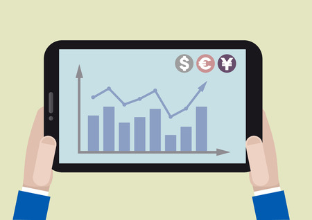 minimalistic illustration of a tablet computer with stock chart on screen Vector