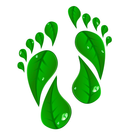 detailed illustration of footprints made of green leafs Ilustrace