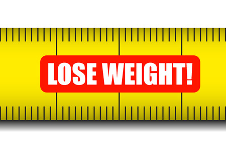 weight control: illustration of a measure tape with lose weight text