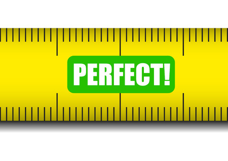 weight control: illustration of a measure tape with perfect text