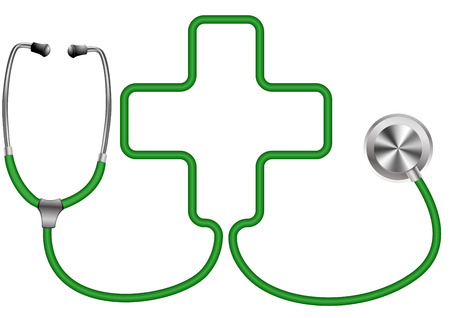 detailed illustration of a stethoscope with a cross shape