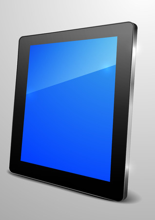 detailed illustration of a tablet computer device with blue empty screen Stock Vector - 25908595