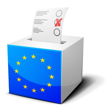 detailed illustration of a ballot box with the european flag on it, eps10 vector Vector