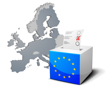 ballot papers: detailed illustration of a ballot box with european flag in front of the European Map, members of the European Union are colored darker