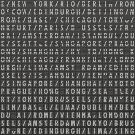 arrivals: detailed illustration of a seamless flight board pattern with damaged letters Illustration