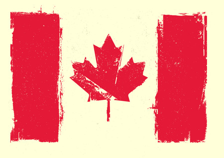 canadian flag: detailed illustration of a grungy canadian flag, eps 10 vector