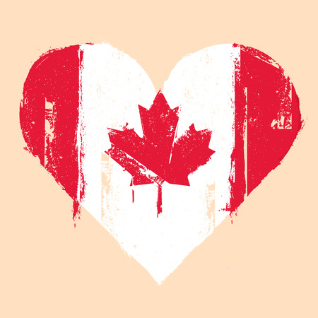 detailed illustration of a grungy heart with canadian flag, eps 10 vector Vector