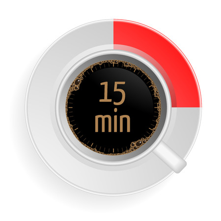 marked: detailed illustration of a cup of coffee with a red marked area and 15min writing, eps10 vector