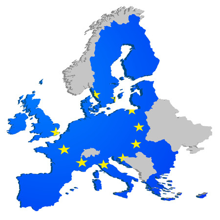 republic of ireland: detailed illustration of the European Map, members of the European Union are colored with the European Flag