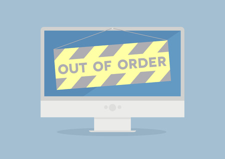 minimalistic illustration of a monitor with out of order sign, eps10 vector Vector