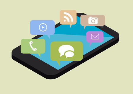 minimalistic illustration of a phone in perspective view with different services in speech bubbles, eps10 vector Vector