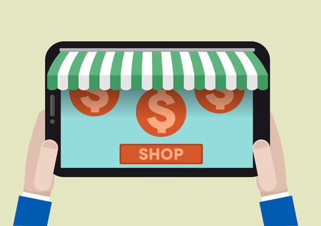 awnings: minimalistic illustration of a tablet computer with shop awnings and dollar symbols, eps10 vector Illustration