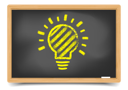 light classroom: detailed illustration of a blackboard with a lightbulb sketch gradient mesh included
