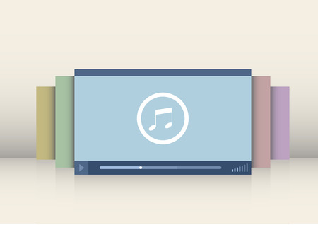tv network: minimalistic illustration of a music player interface Illustration