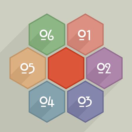 hexagram: minimalistic illustration of  hexagram infographic template Illustration