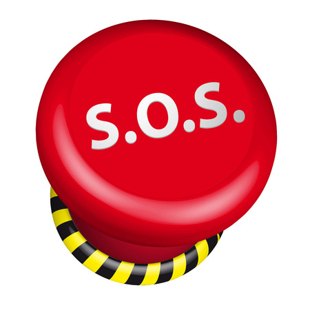 in trouble: detailed illustration of an industrial emergency sos button Illustration