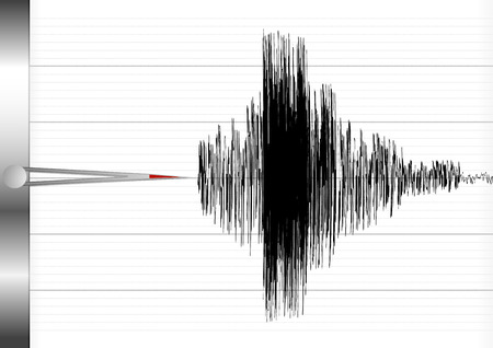 sharp curve: detailed illustration of a seismograph Illustration