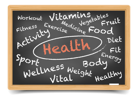detailed illustration of a health wordcloud on a blackboard, gradient mesh included Illustration