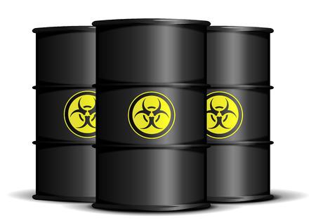 hazardous metals: detailed illustration of biohazard waste barrels