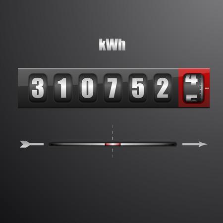 metro medir: ilustración detallada de un medidor de electricidad Vectores
