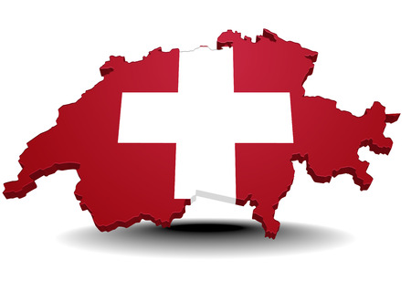 detailed illustration of a map of switzerland with flag Vector