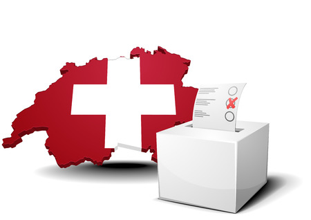 detailed illustration of a ballot box in front of a map of switzerland Vector