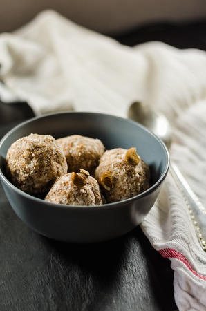 healthful: Energy balls in bowl on table
