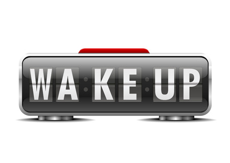 detailed illustration of an alarm clock with term wake up instead of digits, eps10 vector Vector