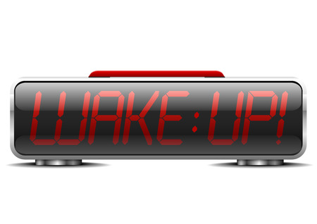 instead: detailed illustration of a digital alarm clock with term wake up instead of digits