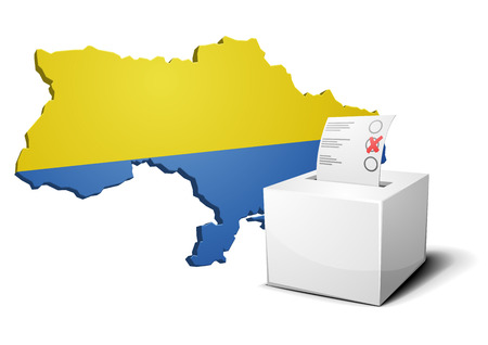 detailed illustration of a ballot box in front of an ukrainian map Stock Vector - 26740034
