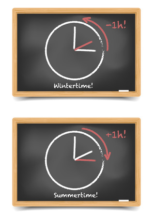 detailed illustration of blackboards with daylight saving clocks, gradient mesh included